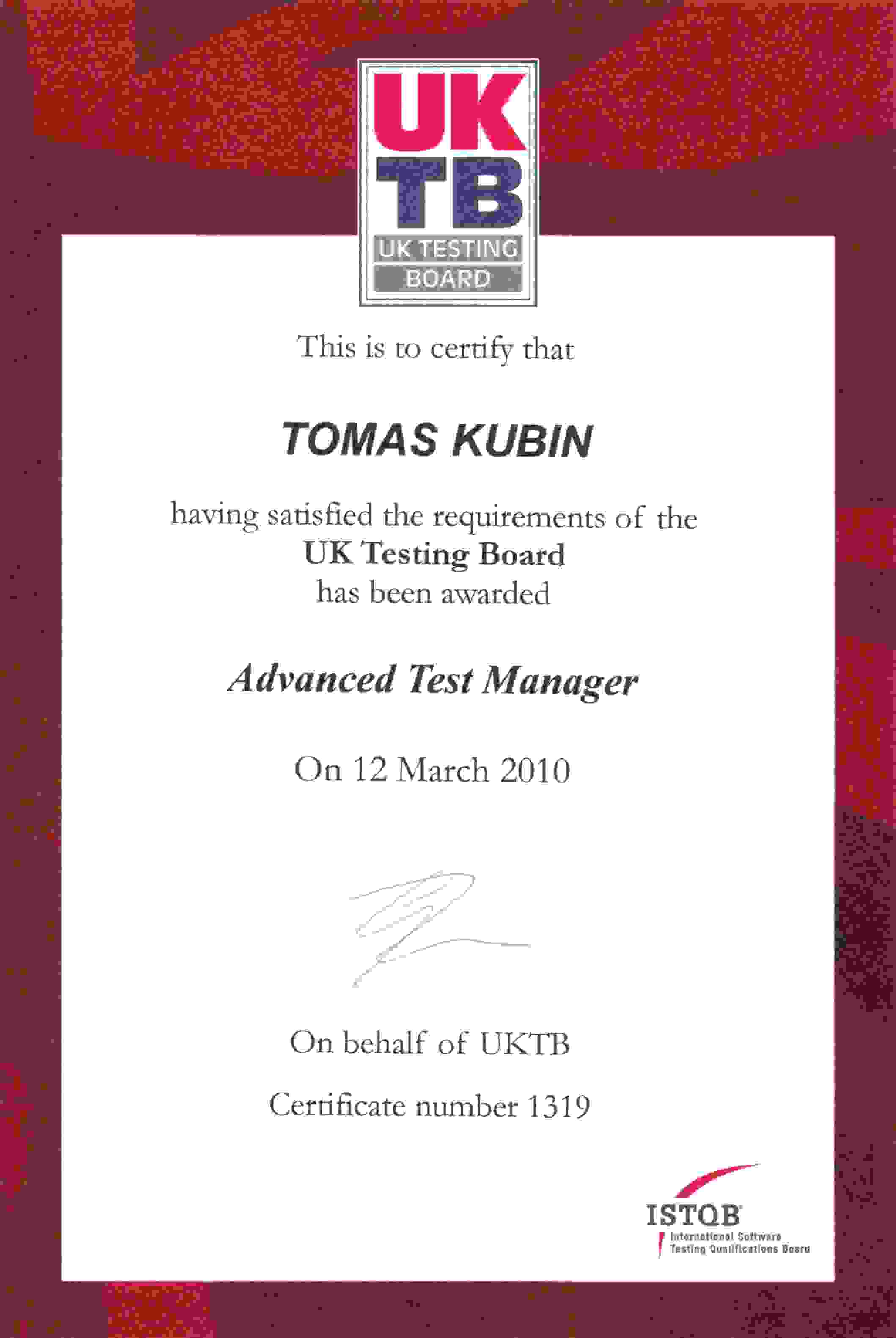 Tomas kubin personal website of tomas kubin advanced test manager istqb uktb 1319 1betcityfo Image collections
