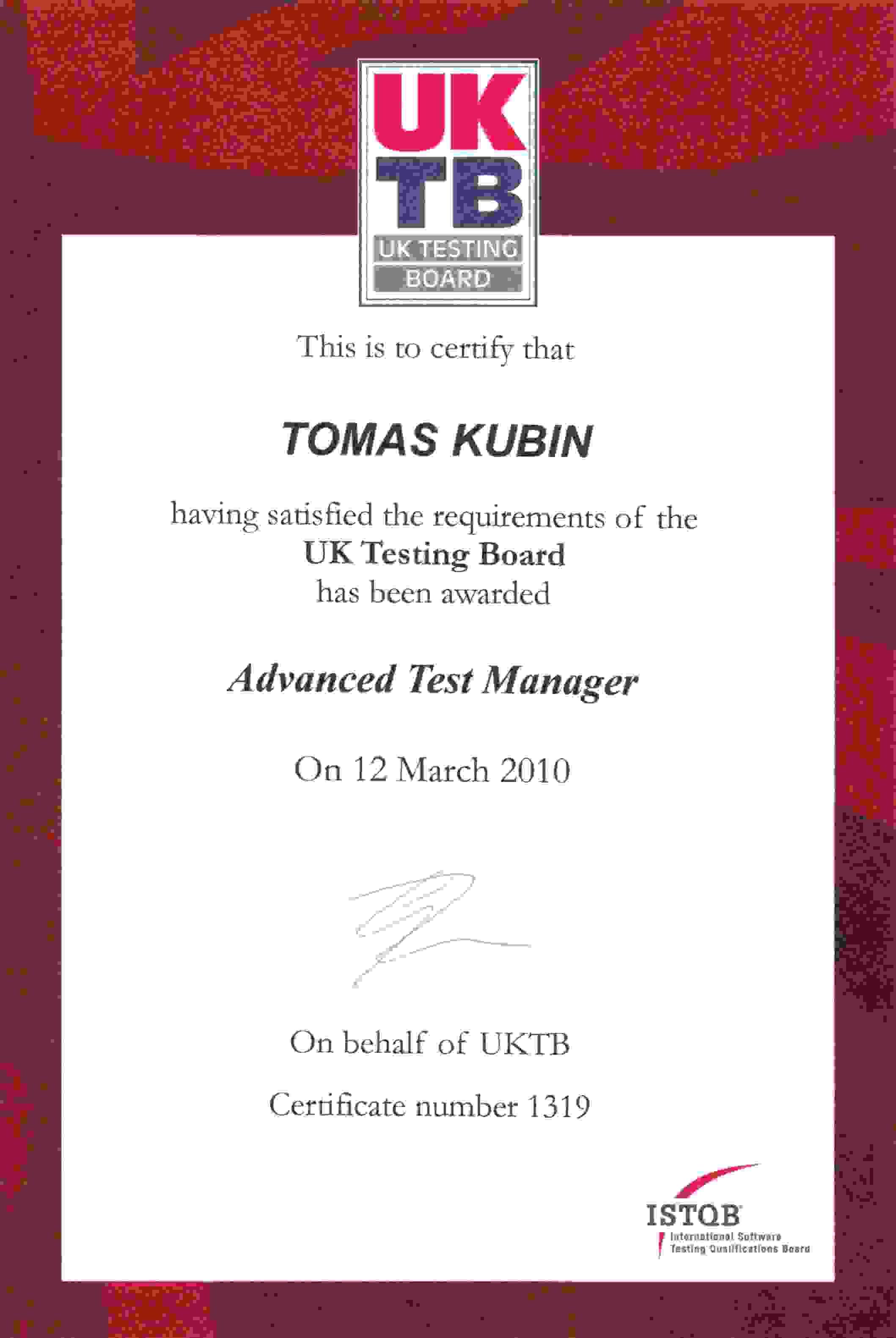 Tomas kubin personal website of tomas kubin advanced test manager istqb uktb 1319 xflitez Images